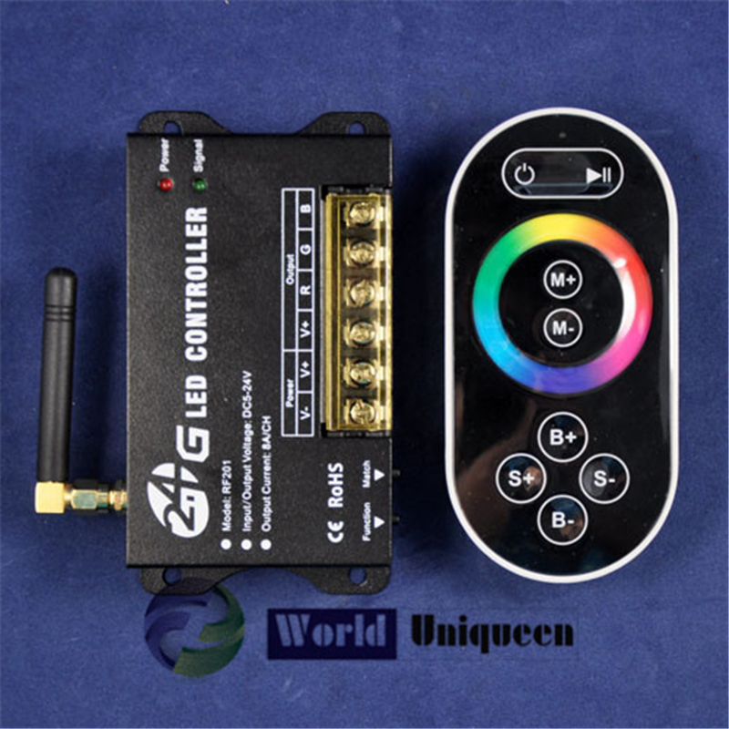 12V&lt; 288W  24V&lt;576 W 3 channel 24A,2.4G RF wireless led full-color rgb controller with remote for led strip bar rigid light<br><br>Aliexpress