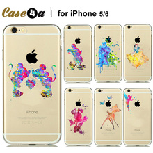 Cute Funny Tinker bell Design Soft Back Case For iPhone 6 6s 6+ 6s plus Clear Watercolor Art Fairy Tale Cartoon Pattern