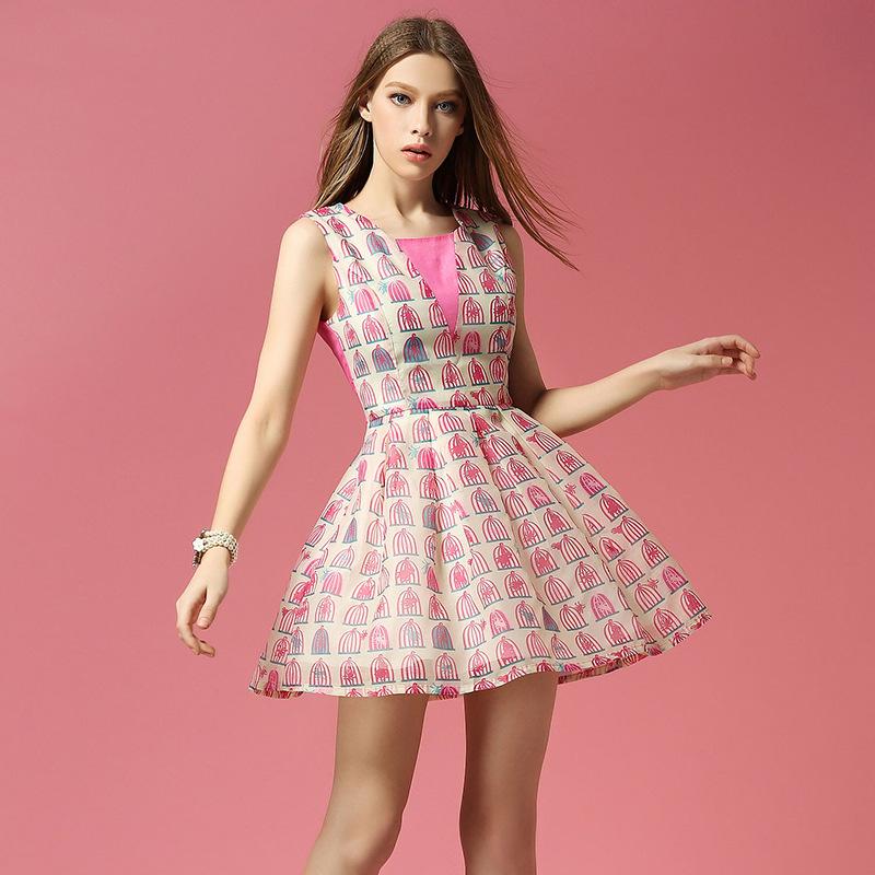 New 2015 hot women print equins slim vest dress summer style haped waist sleeveless short mini vestidos plus size XL wholesale(China (Mainland))