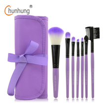 Professional 7 PCS Makeup Brushes Set Tools Make-up Toiletry Kit Wool Brand Make Up Brush Set Case Cosmetic Foundation Brush(China (Mainland))
