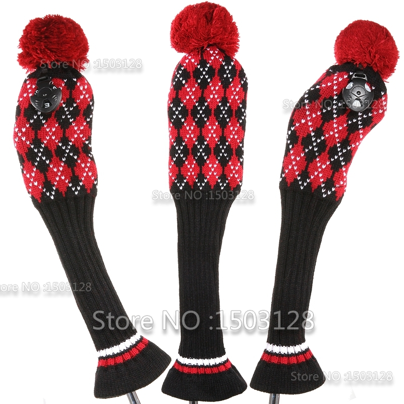 Golf New 3Pcs 1# 3# 5# One Set Black Red Wool Knit Pom Covers Golf Clubs Set Driver 3# 5# Fairway Wood headcovers(China (Mainland))