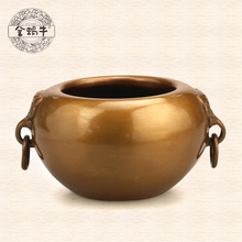 The golden snail 10 # tiger ears bowl furnace refined copper censer manual buddhist temple appliances decoration gifts(China (Mainland))