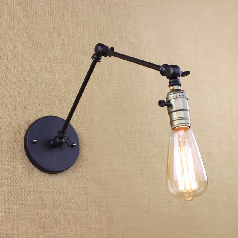 Edison light bulb RH long arm switch, wall lamp warehouse loft American country retro industry Vintage iron Small Wall Lamps<br><br>Aliexpress
