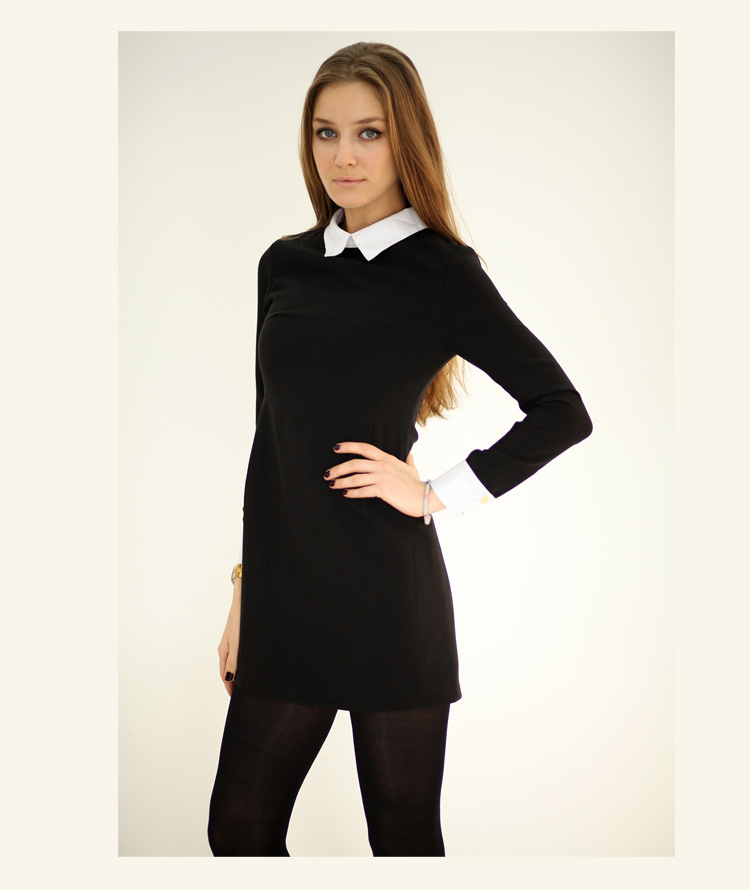 Black Shirt White Collar Womens