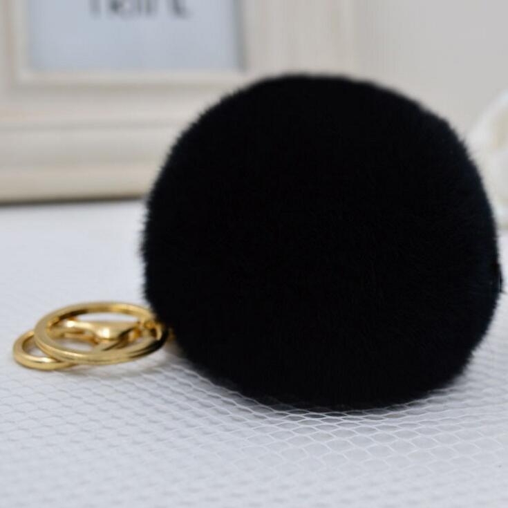 Real Fur Ball 8.5cm Pompom Keychain Car Keyring Rabbit Fur Ball Keychain Fur Brand Pompons Bag Charms With Chains Keyring
