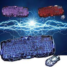 3 Color Adjustable Luminous USB Wired Crack LED Illuminated Backlit Pro Gaming Keyboard + Mouse Set+Mouse Pad gift