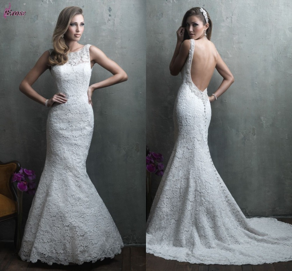 2015 Sexy Low Back Mermaid Floor-Length Scoop Neckline Sleeveless Beaded Lace Bridal Wedding Dress Gown Vestidos - TU DRESS STORE store