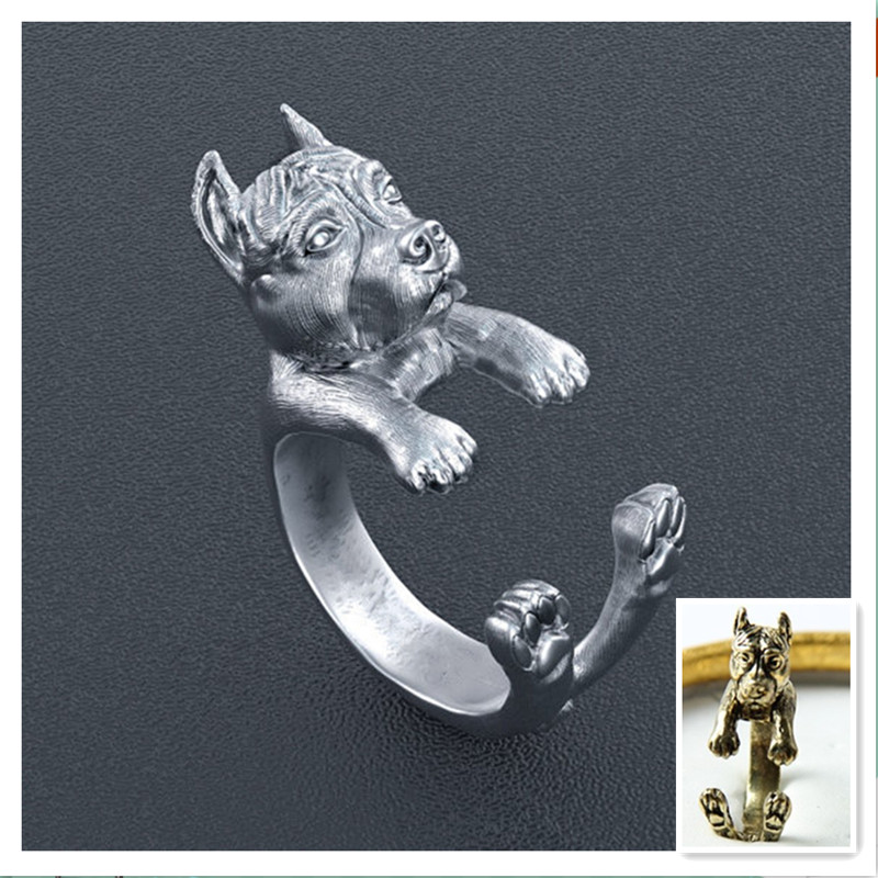 Free shipping 50pcs  retro punk America Pit Bull Terrier Ring free size hippie animal pit bull dog Ring jewelry for pet lovers<br>