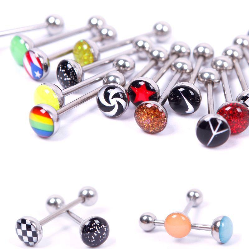 wholesale lots of 50 metal piercing tongue rings steel