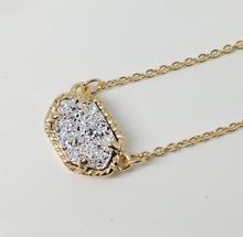 Fashion Choker Necklace for Women 2016 Claw Cute Quartze Oval Pendant Druzy Necklace Jewelry