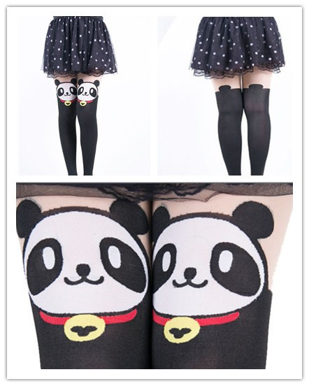 2016 Time limited New Tights Pantyhose Kawaii Cut Jacquard Cartoon Panda Stockings High Easticity For Women