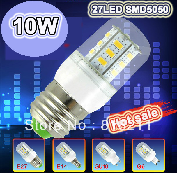handheld 220-240V G9/GU10/E14/E27 27 LED 5050 SMD 10W Powered Bulb Lamp products Chip Warm White / Cool white free shipping(China (Mainland))