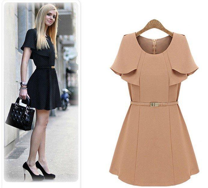 S-XL free shipping manufacturers supply women's Shawl slim waist dress with belt #C7659(China (Mainland))