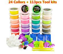 24Colors Supper Light Clay Jumping Clay with 114pcs Tools kit Air Dry Clay Playdough Light weight clay Supper clay plasticine(China (Mainland))