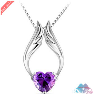 Wholesales Fashion Jewelry 18K Platinum Plated Crystal design Angel wings Necklaces & Pendants for women 90B07(China (Mainland))
