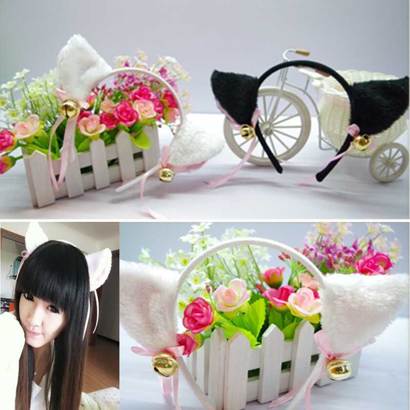Free Shipping Night Party Club Ball Wearing Deacorate Cat Fox Fur Ear Pattern Hair Clip Bell(China (Mainland))
