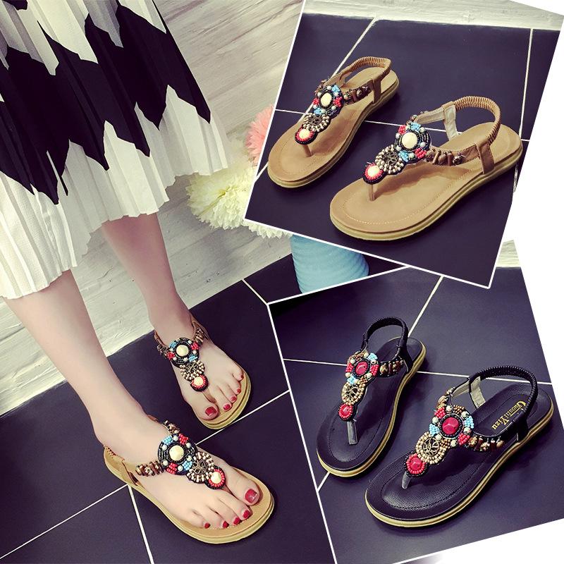 Women Sandals 2016 Bohemian Beaded Thong Sandal Wholesale Female Outdoor Slippers Women Shoes Zapatos Mujer Sandalias(China (Mainland))