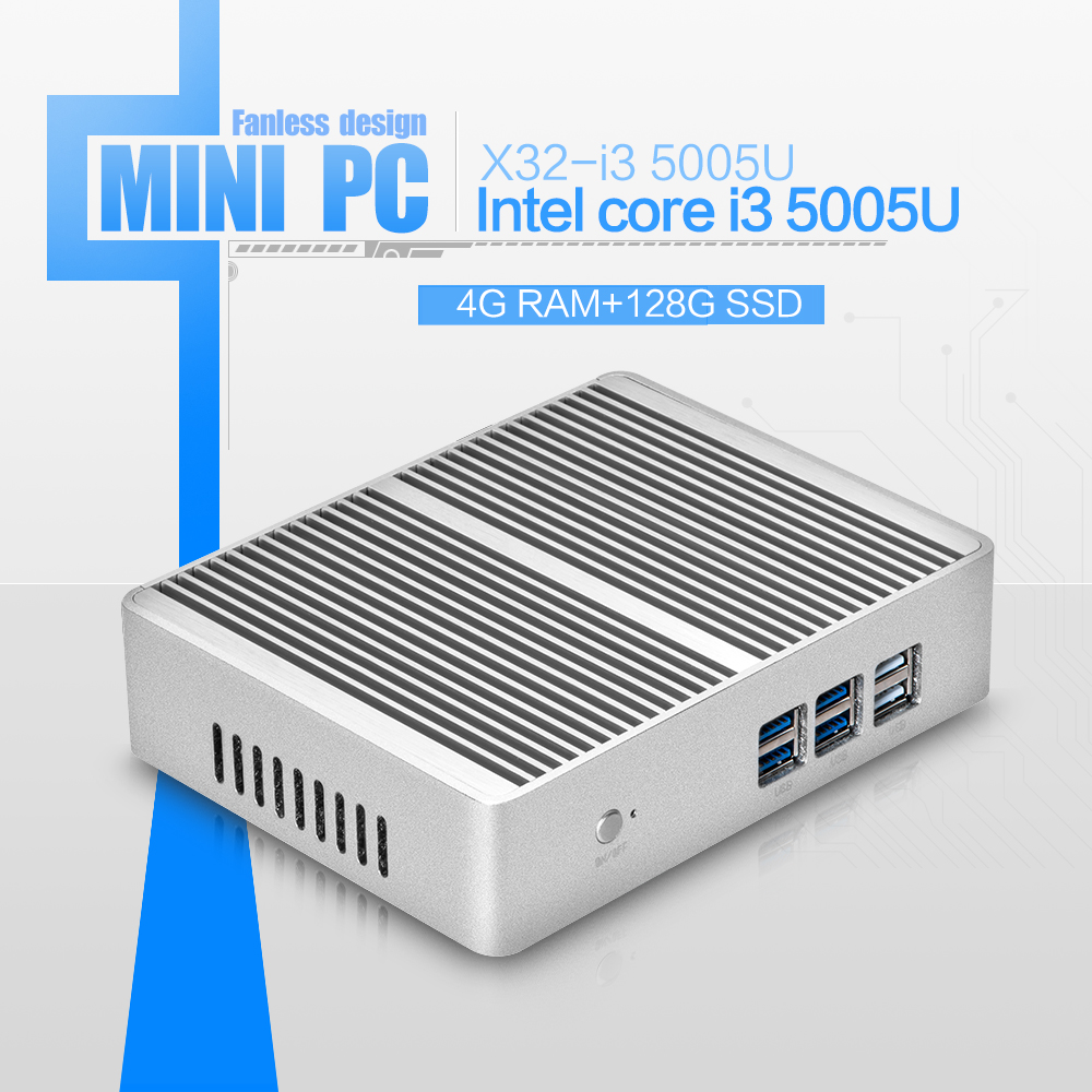 Factory price! X32-i3 5005u fanless computer networking latest desktop computers thin client mini pc support 4g ram 128g ssd(China (Mainland))