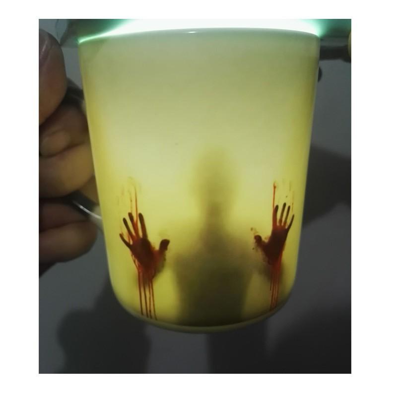 Newest Bone China Color Changing Mug Magic black heat sensitive Coffee Mug Tea Cup mugs printing with bloody hands(China (Mainland))