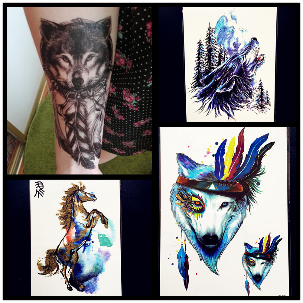 Brave As Siberian Lions Indian Warrior Waterproof Temporary Tattoo Men Body Art Flash Tattoo Stickers 17*10cm Fake Car Styling