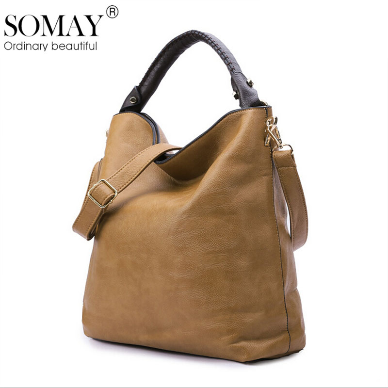 Vintage Somay pu handbag European and American Classic wild simple and elegant Zipper Tote shoulder Messenger bag Free shipping(China (Mainland))