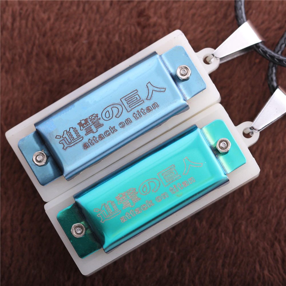 Free Shipping Hot Anime Attack on Titan Surveys Corps Cosplay Metal Mini Mouth Organ Pendant Necklace Fashion Jewelry(China (Mainland))