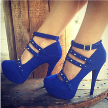 shofoo shoes.Fashion novelty free shipping, blue suede, T buckle, ladies high heels, round toe pumps.SIZE:34-45(China (Mainland))