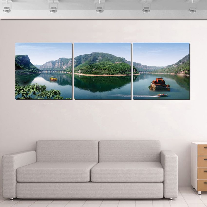 Unframed 3 panel mountain lake boat pastoral scenery for Home wall decor