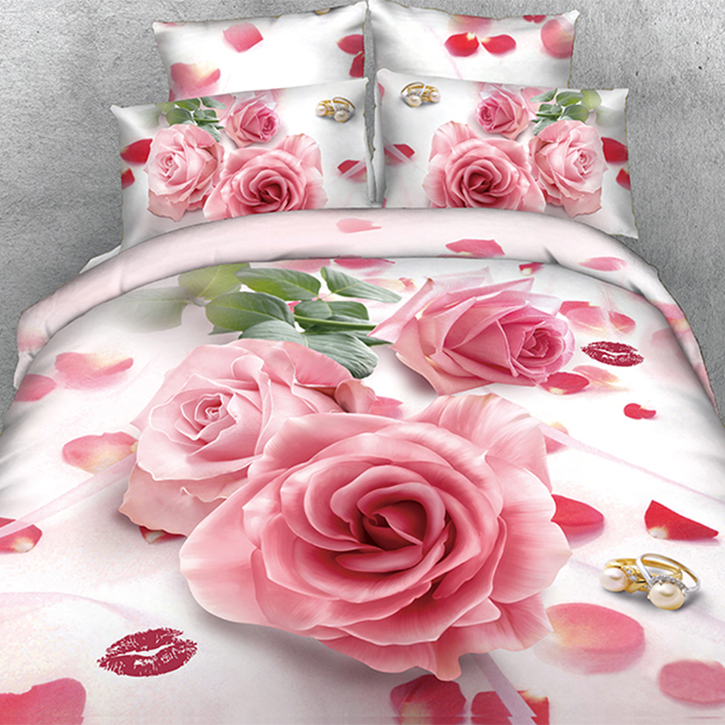 4 Pieces Per Set Wedding Pink Rose Bedding Set and Quilt Cover bedding set(China (Mainland))