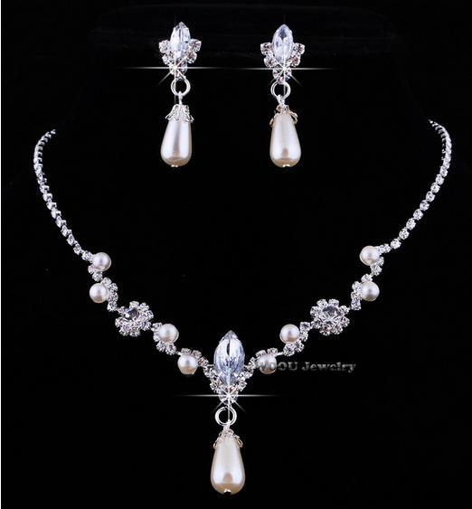 2015 fashion hot sale alloy rhinestone necklace earring