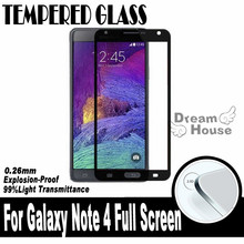 0.26MM 2.5D For Samsung Galaxy Note 4 N9100 N910 Screen Printing Full Cover Covering Tempered Glass Screen Protector Film(China (Mainland))