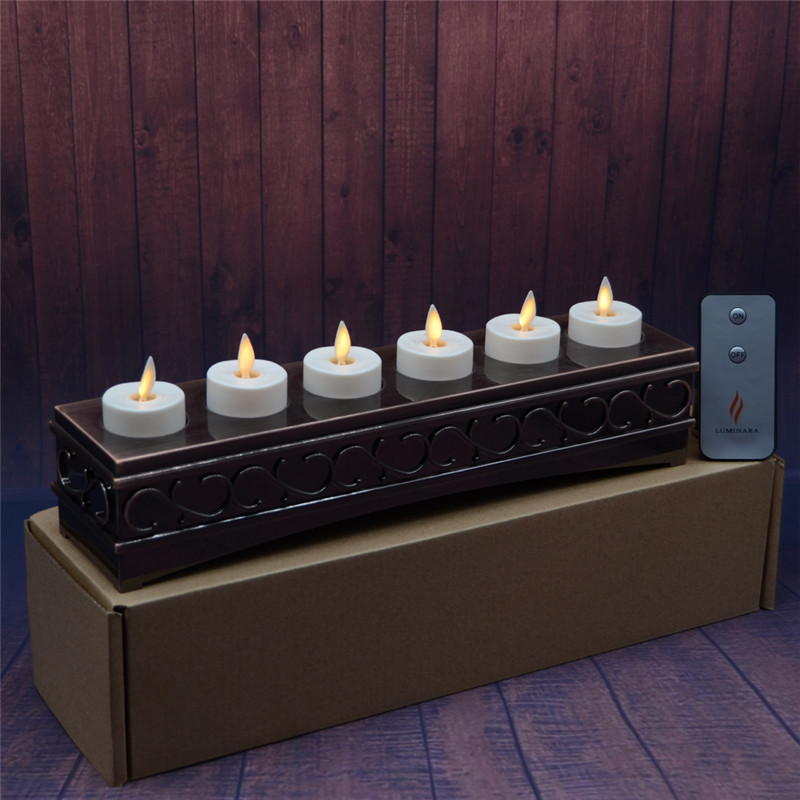 Remote Luminara Rechargeable Moving Flameless 1.5 Inch LED Tea Light Candles with Decorative Antique Bronze Charging Base 6 Pcs(China (Mainland))