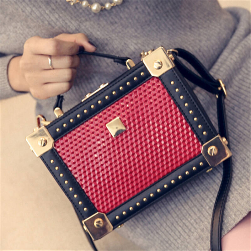 2016 Stylish Rivet Square Box Bag Personalized Patchwork Embossed Handbag One Shoulder Bag Top Quality Famous Brand Design Bag<br><br>Aliexpress