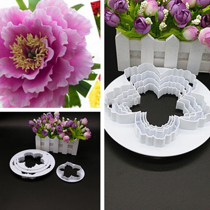 4PCS Peony Petals Pattern Flower Plastic Paste Cake Press Mold Set Cookie Sugar Fondant Cutter Cakes Decoration TB Sale(China (Mainland))