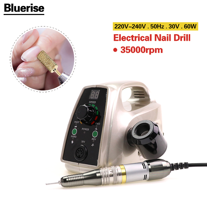 Bluerise60W Powerful Electric Professional Nail Drill EU Plug Art Pen Polish Drill Equipment Pedicure File Polish Tool Feet Care(China (Mainland))