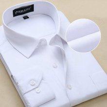 2015 New Design Twill Cotton Pure Color White Business Formal Dress Shirts Men Fashion Long Sleeve Social Shirt Big Size 5XL 6XL(China (Mainland))