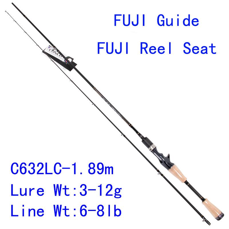 Trulinoya PRO FLEX C632LC 1.89m Light Action Bait Casting Lure Rod Fuji Rings Reel Seat Carbon Wooden Handle Fishing Rod Pesca(China (Mainland))