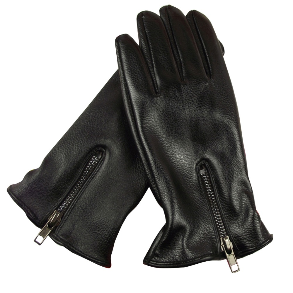 Leather driving gloves with zipper - New Winter Warm Mittens Women Men Pu Leather Gloves Unisex Gloves Causal Wrist Soft Covered Finger Fashion Gloves With Zipper