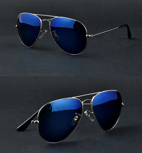 GL Full Blue Mirrored Aviator Sunglasses Dark Tint Lens Silver Frame UV400 BNWT(China (Mainland))