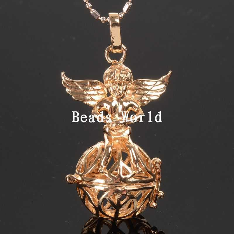 Wholesale Free Shipping 1 Pcs Gold Plated Copper Charm Angel Pendants Round Hollow Wish Box 54x27mm(W05137)(China (Mainland))