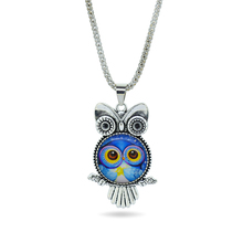 2015 Glass Owl Necklace & Pendants Antique Silver Popcorn Chain Necklace Women Men Fashion Jewelry