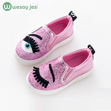 Children shoes 2016 fashion Autumn Cartoon eye Shoes girl sneaker Sequins princess party with flat Shoes kids trainers for girls(China (Mainland))
