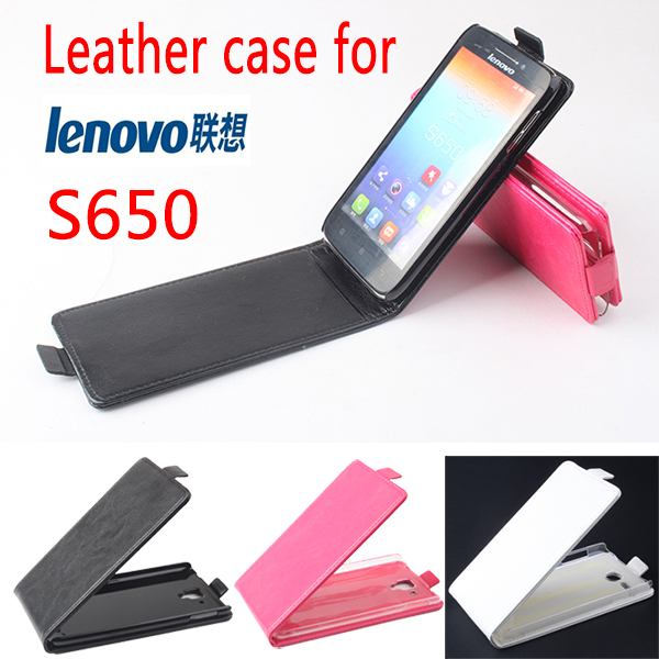 2014 Luxury Fashion Flip Genuine Leather Case Cover Lenovo S650,Original Mobile Phone Bag,Free Screen Protector/Black - MMZ Union Source store