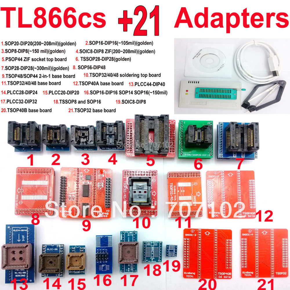 TL866CS programmer 21 adapters english russian manual High speed USB Universal TL866 AVR PIC Bios 51 MCU Flash EPROM Programmer(China (Mainland))
