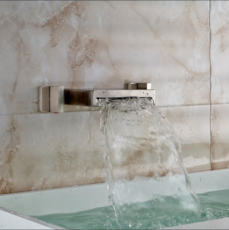 Купить Матовый Никель 3 ШТ. Водопад Бассейне Мойки Смесители Настенные Двойной Ручкой Горячей и Холодной Ванной Кран