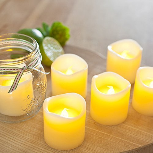 Divine LEDs Flickering Romantic Battery Powered Flameless Candles, Set of 6, Yellow(China (Mainland))