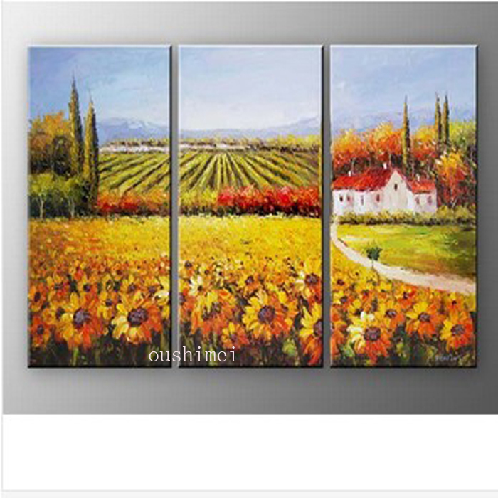 Handmade 3pcs/lot Modern Sunflower Pictures On Canvas Palette Knife Oil Painting Wall Artwork Painting Mediterranean Landscape(China (Mainland))