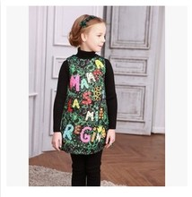 Milan Creations Girls Dresses Winter 2015 Luxury Brand Princess Dress Baby Girl Clothes Letter Handmade Kids Dresses for Girls