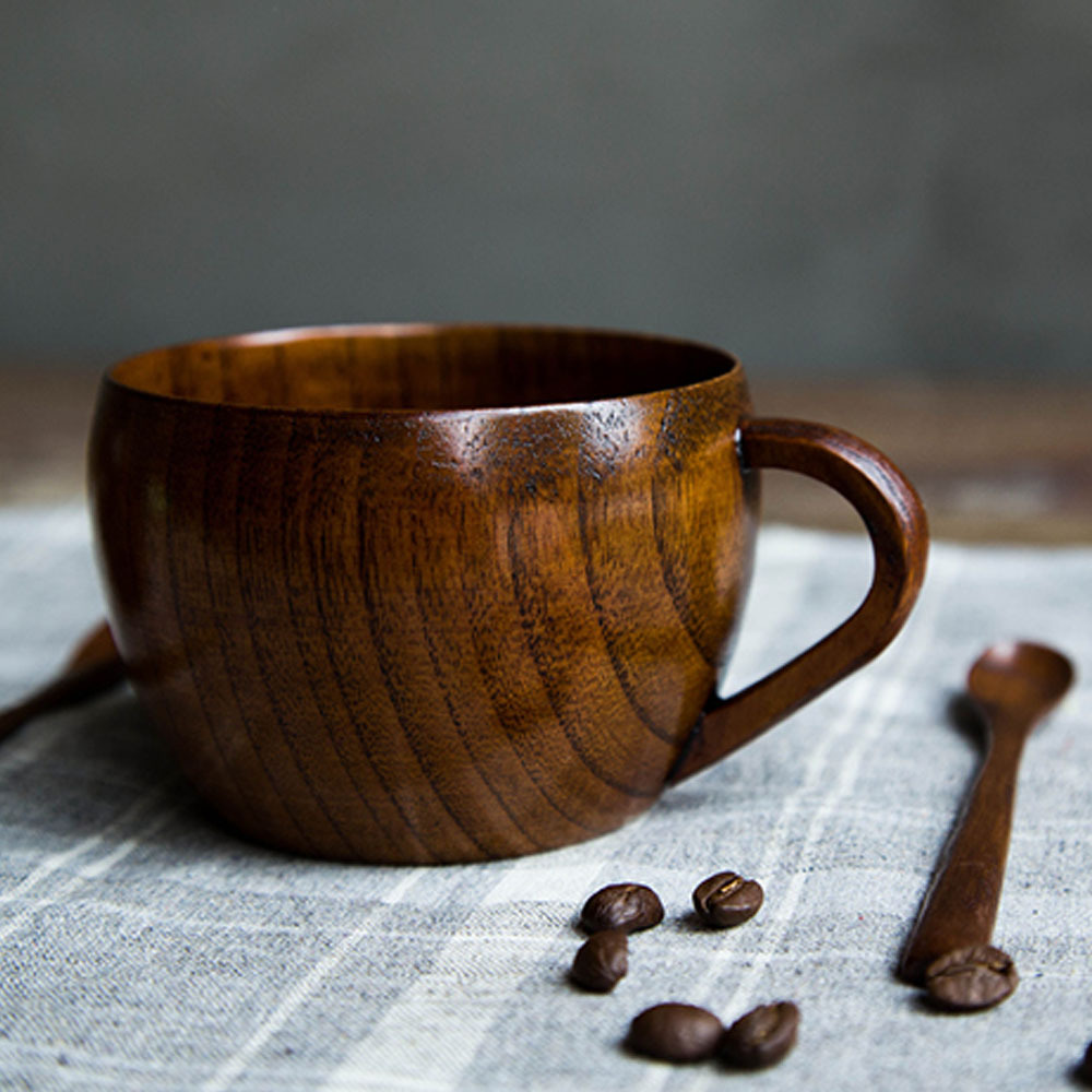 Japanese style jujube wood teacup 260ml coffee mug Unique coffee cups mugs