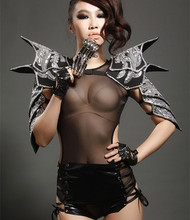 Buy 2015 New style sexy female singer coverall costume Ds habergeons japanned leather armor bodysuit stage dance DJ clothing for $180.41 in AliExpress store